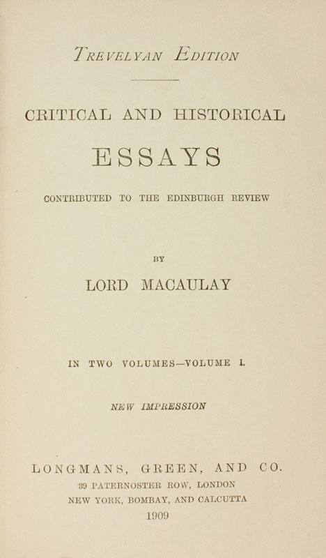 macaulay essays history Thomas babington macaulay's critical essay on ranke's history of the popes critical and historical essays leopold von ranke's history of the popes.