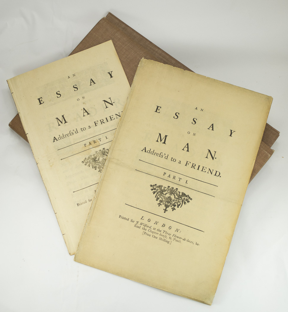 an essay on man summary alexander pope two large paper copies of an essay on man