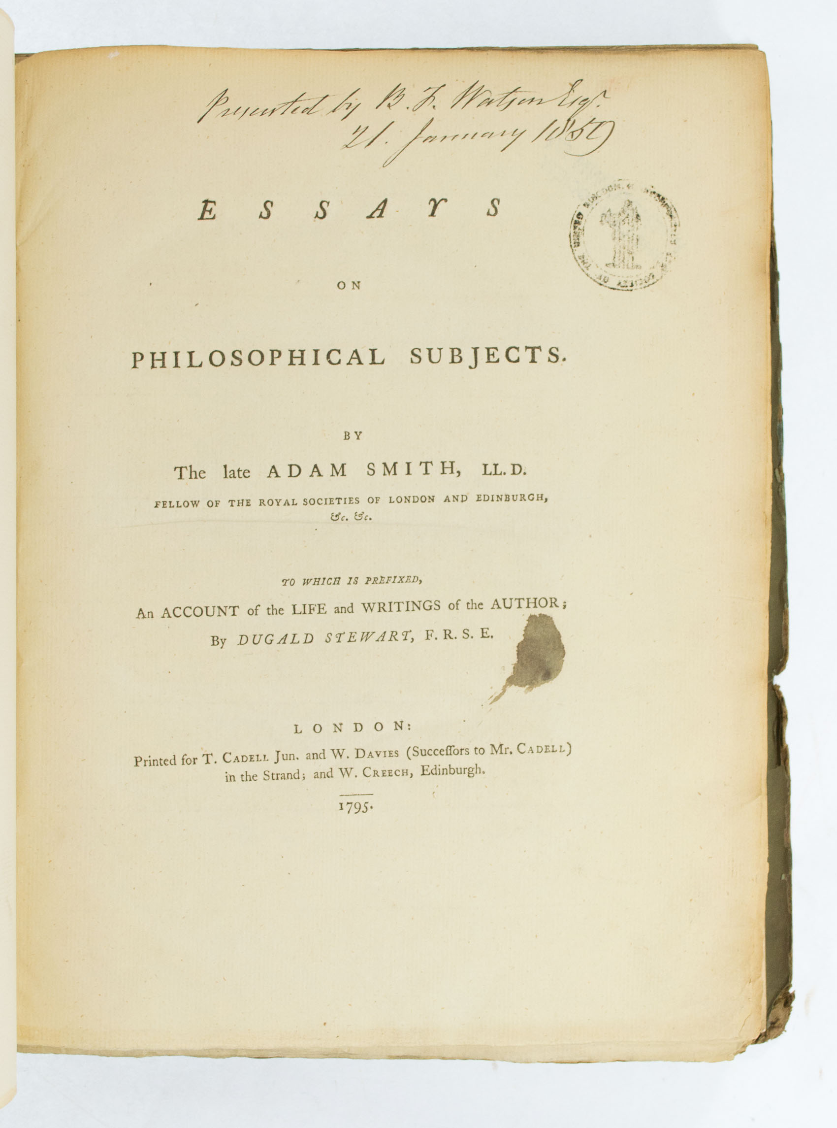 smith adam essays on philosophical subjects  essays on philosophical subjects